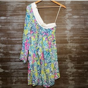 Lilly Pulitzer One Shoulder Sea Print Dress Size M